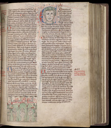 Historiated Initial With King Henry I, And Marginal Drawings Of Cistercian Monks, In 'The Rochester Chronicle'